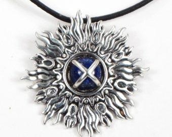 SunBurst/Lapis Lazuli Center Stone - Sterling Silver Southwest Pendant/Necklace - Del Sol Sun Pendant - Anniversary Gift Sterling Silver