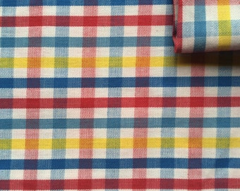 Vintage Fabric 80's Checkered Cotton, Red, Pink, Yellow, Blue, Material