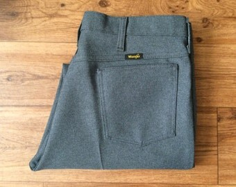 Vintage Men's 70's Wrangler, Pants, Grey, Polyester, Slacks (36 x 27 1/2)