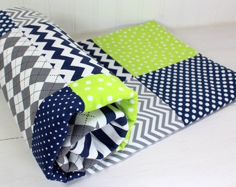 Baby Boy Blanket, Nursery Decor, Photography Prop, Minky Blanket, Crib Blanket, Chevron Nursery, Navy Blue, Lime Green, Gray, Grey Chevron