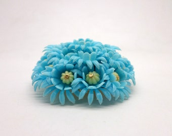 Super Fun Vintage Plastic Flower Pin Turquoise Blue and Yellow
