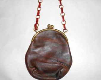 Vintage Brown Leather Shoulder Bag Purse with Gold Metal and Tortise Shell Lucite Strap  Gold Snap Closure Frame and  1960'S