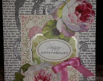 greeting card, anniversary card, handmade greeting card, embellished greeting card