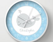 """Little Gray Whale with blue nautical nursery wall clock 10"""", choose frame color, hands color and personalization"""