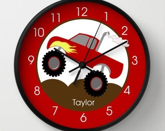 "Monster Truck Red Nursery Room 10"" Wall Clock, Choose Frame Color, Hands, Personalized"