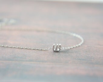 "Cursive silverLetter, Alphabet, Initial  ""w"" necklace, birthday gift, lucky charm, bridesmaid, bridal, wedding, layered necklace"