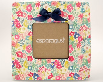 Navy Flowers -- Picture Frame -- Floral