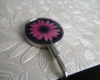 Pink African Daisy Image Purse Hanger-For The Gardener, Flower Lover-Practical Gift-Keeps Your Purse Off The Floor at Restaurants, Etc.