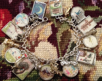 The Little House By Virginia Lee Burton Art Upcycled Charm Bracelet