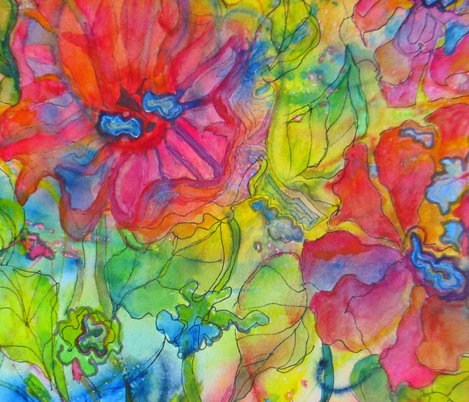 Abstract floral painting original flower by janicetranejones for Abstract art flowers paintings