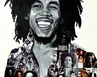 Bob Marley portrait- collage