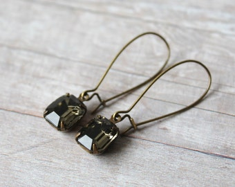 Black Diamond Vintage Glass Drop Earrings