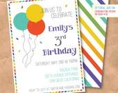Confetti & Balloons Birthday Invitation - DIY Printable Digital File - Birthday Party Rainbow Brite Air Mail Stripe 5x7 4x6 Custom Invite