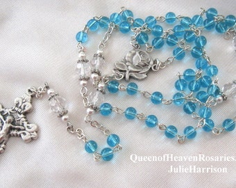 Aqua Glass and Swarovski Pearl Petite Rosary/March Birthstone Rosary