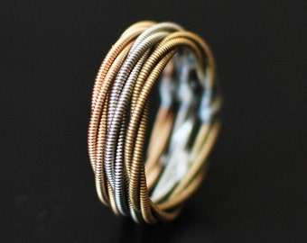 3 Stacked Guitar String Rings, Guitar Gifts, Stacking Ring Set, Stacking Rings, Stackable Rings, Guitar String Ring, Guitar String Jewelry