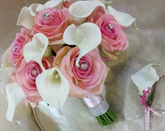 Wedding bouquet-pink and ivory bridal bouquet in silk roses and real touch calla lilies with rhinestones
