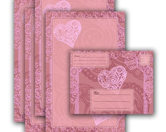 Pretty Pink and Hearts Note Sheets and Envelope - Printable Stationery Digital Download