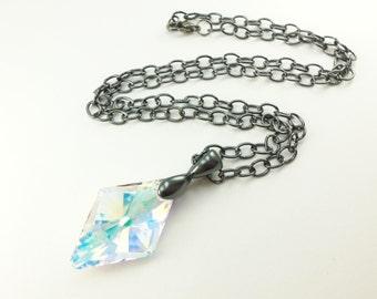 Large Crystal Diamond Necklace Birthstone Necklace Large Diamond Crystal April Birthday Necklace Dark Silver Diamond Birthstone Necklace