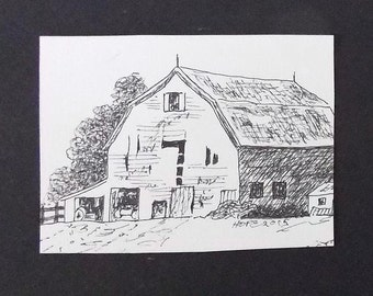 "ACEO Barn Art, Original Art, Artist Trading Card, Pen and Ink, 2"" x 3"" Art Drawing, Country Art, Landscape, Barn Sketch, Barn Drawing"