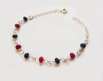 Ruby and Gray Jade  sterling silver bracelet