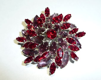 Magnificent Vintage Purple and Red Prong Set Rhinestone Brooch Pin on Etsy