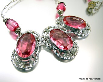 Art Deco Pink Glass Rhodium Plated Necklace