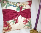 Waverly Floral Pillow With Waverly Burgundy  Damask Trim and Tie and Burgundy Satin Ribbons REDUCED