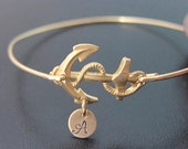 Personalized Anchor Bracelet, Personalized Anchor Jewelry, Anchor with Initials, Custom Anchor Bracelet Bangle, Monogram Anchor Bracelet