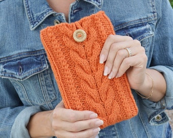 Kindle Fire cover knit sleeve kindle cozy rustic orange pumpkin gift for friend Thanksgiving Christmas