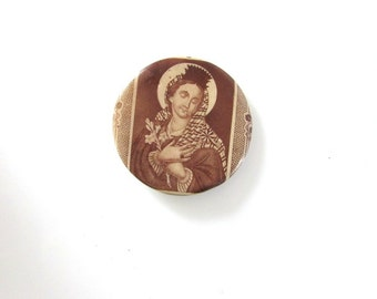 Blessed Mother Celluloid Religious Medal Pin Back Button Madonna Lilies Mary Icon Catholic Vintage Queen Of Heaven