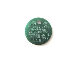 1 Green Dog Tag 1978 Rabies Amherst Mass Jewelry Supply Assemblage Vintage