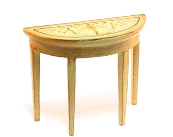 Cream Painted demi-lune SIDE TABLE with gold painted design  12th scale Dolls House furniture