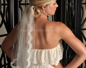 Wedding Veil - Lace Trim, Alencon Lace Veil - White, Ivory