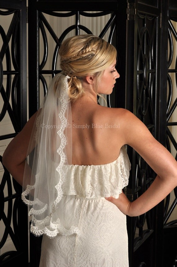 Lace Veil with Alencon Lace Trim - White, Diamond White Light Ivory, Ivory, Blush, Champagne