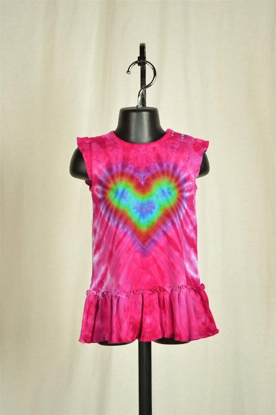 Pink or Purple Rainbow Love Tie Dye Baby Dress by