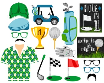 Golf digital photo booth props Instant download