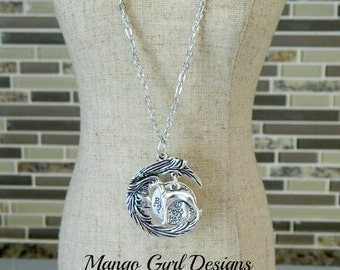 Greyhound Silver Love Beyond The Moon And Stars Necklace- Greyhound Necklace-Greyhound Jewelry-Greyhound Gifts, Greyhound Moon and Stars