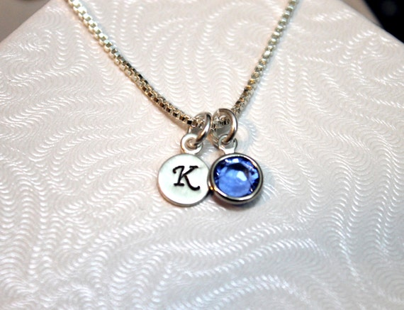 Silver Initial Charm with Birthstone, Personalized Mother's Jewelry, Customized Necklace, Custom Jewelry