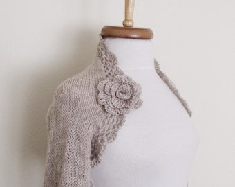 Milky brown Wedding shrug- Bridal shrug long sleeves With Flower Brooches-Ready for shipping