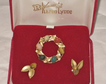 Vintage Scarab Brooch Pin and Earring Set, 12KT Gold Filled Circle Wreath with gold Leaves and Matching earrings
