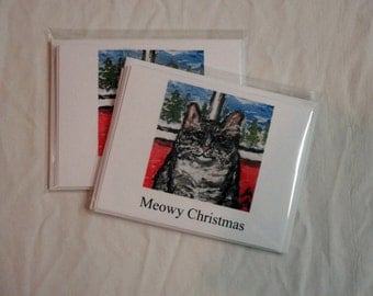 Make everyone smile with these two packages of five whimsical Christmas cards.  The cards are 5x7 and blank inside.