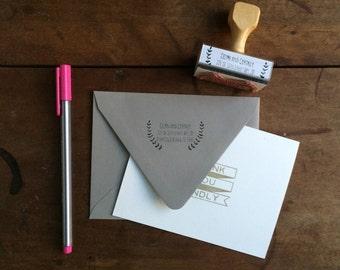 Branches Return Address Stamp - Custom Rubber Stamp - Wood Handle - Botanical Floral Vines Rustic Housewarming Wedding