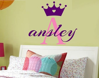 Childrens Wall Decal MONOGRAM Princess