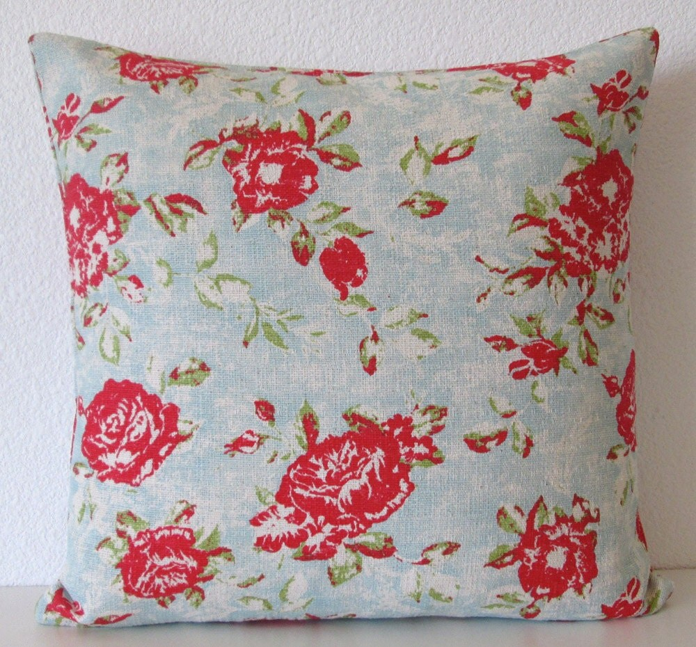 Blue Red Throw Pillow : Red and blue floral throw pillow cover red by vintagechicdecor