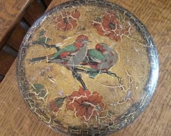 vintage Scribbans round black/birds/floral biscuit tin