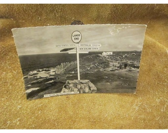 Lands End – First & Last Sign Post in England -  RPPC  Black and White Vintage Postcard – St. Albans Series Photo Postcard