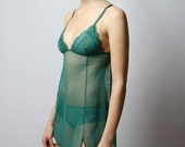 womens mesh lingerie set including nightgown and panties - SEA GLASS - made to order and ready to ship