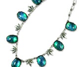 Green Opal Necklace Vintage Glass Antique Silver Necklace