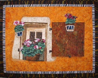 Window with Shutter II Original Art Quilt by Lenore Crawford