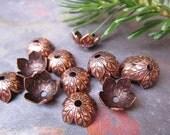 6 PC  Antique Copper Botanical 8mm Bead Caps